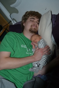 Our first night home. No, Mitchell didn't sleep with us. I just laid him with Justin while I was getting ready that morning.